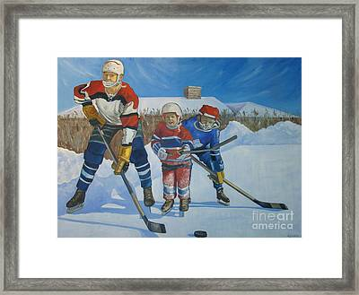 Backyard Ice Hockey Framed Print by Christina Clare