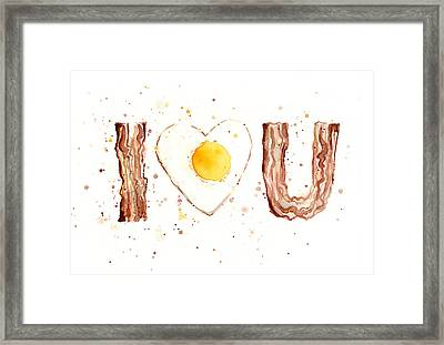 Bacon And Egg I Love You Framed Print by Olga Shvartsur