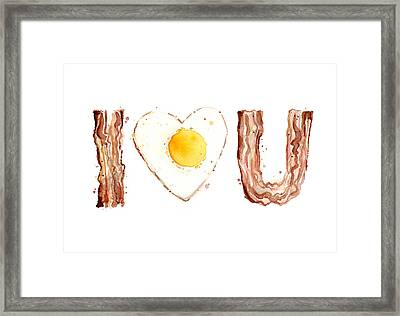 Bacon And Egg Love Framed Print by Olga Shvartsur