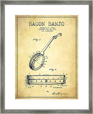 Bacon Banjo Patent Drawing From 1929 - Vintage Framed Print