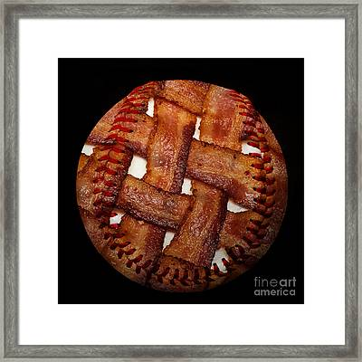 Bacon Weave Baseball Square Framed Print by Andee Design
