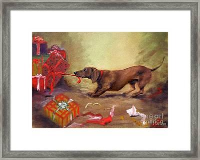 Bad Dog Christmas Framed Print by Stella Violano