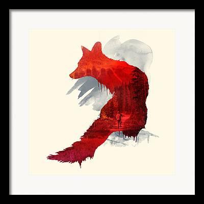 Red Fox Mixed Media Framed Prints