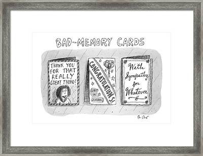 Bad Memory Cards Framed Print by Roz Chast