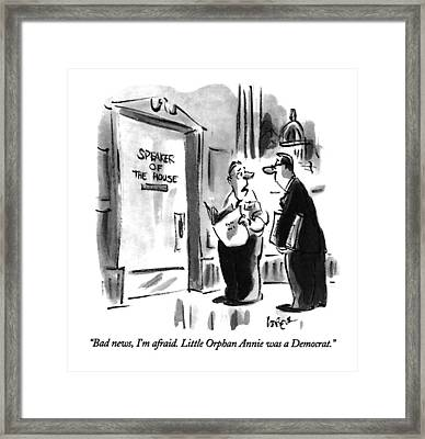 Bad News, I'm Afraid.  Little Orphan Annie Framed Print by Lee Lorenz