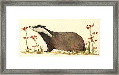 Badger And Flowers Framed Print