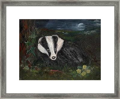 Badger Framed Print by Carol Rowland
