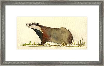 Badger Grass Framed Print