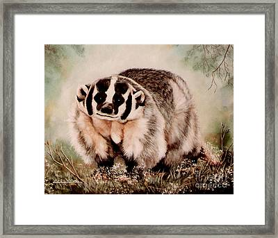 Framed Print featuring the painting Badger In The Mist by DiDi Higginbotham