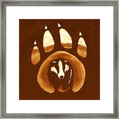 Badger Paw Framed Print by Daniel Hapi