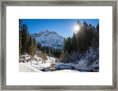 Baergunt Valley In Kleinwalsertal Austria In Winter Framed Print