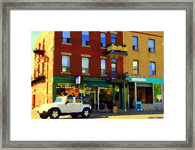 Bagels And Tea St Viateur Bakery And Davids Tea Room Montreal City Scenes Art Carole Spandau Framed Print