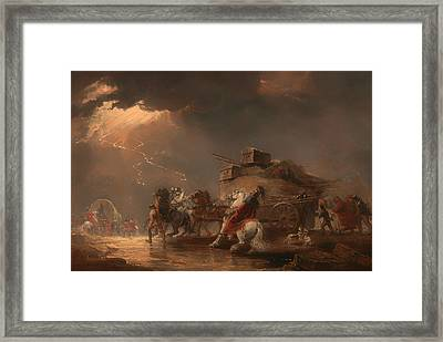 Baggage Wagons In A Thunderstorm Framed Print by Mountain Dreams