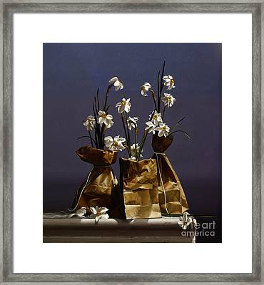 Bags Of Narcissus Framed Print by Larry Preston