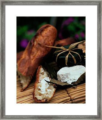 Baguettes And Banon Cheese Framed Print by Romulo Yanes
