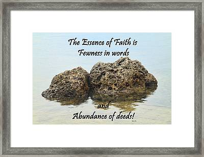 Bahai Quote On Rocks Framed Print by Rudy Umans