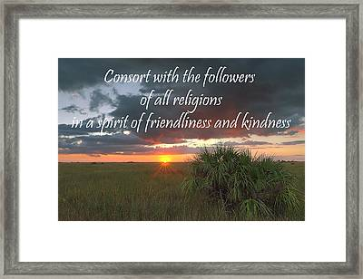 Baha'i Quote On Sunset Framed Print by Rudy Umans