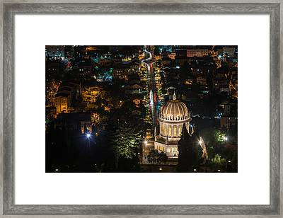 Baha'i Temple At Night Framed Print