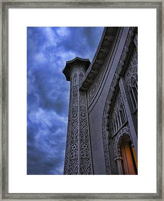 Framed Print featuring the photograph Bahai Temple Detail At Dusk II by John Hansen