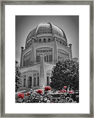 Bahai Temple Wilmette In Black And White Framed Print by Rudy Umans