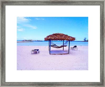 Bahama Hut Framed Print by Carey Chen