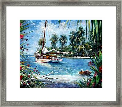 Bahamas Moored For The Night Framed Print