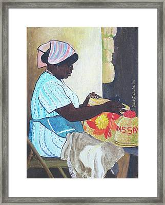 Bahamian Woman Weaving Framed Print by Frank Hunter