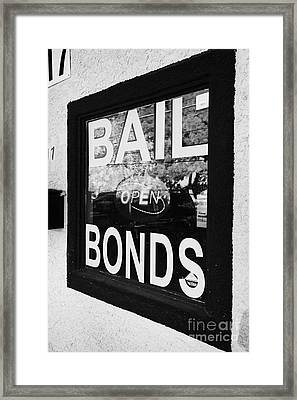 bail bonds open sign in a window Las Vegas Nevada USA Framed Print by Joe Fox