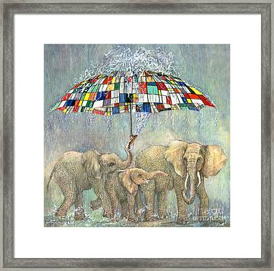 Bailando Bajo La Lluvia. Mondrian Umbrella Framed Print