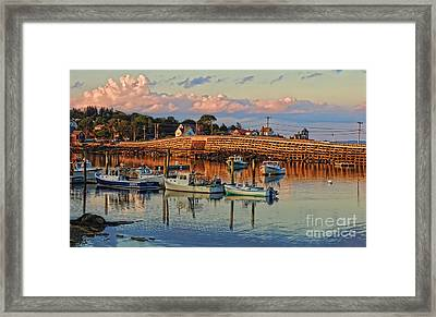 Bailey Island Bridge At Sunset Framed Print