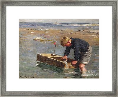 Bailing Out The Boat Framed Print by William Marshall Brown
