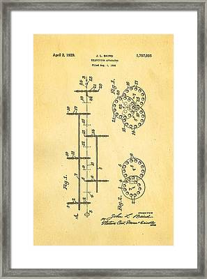 Baird Television Apparatus Patent Art 1929 Framed Print