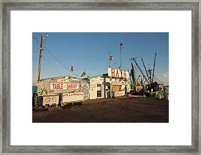 Bait Stand At Fulton Harbor, Fulton Framed Print by Larry Ditto