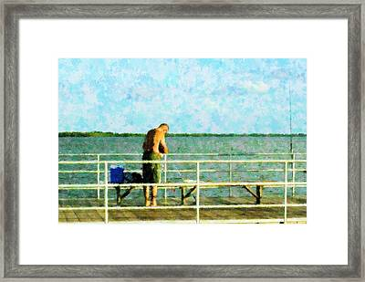 Baiting The Hook Framed Print by Florene Welebny