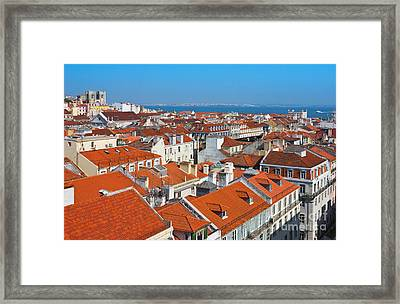 Baixa City Center Of Lisbon Panoramic View Framed Print by Kiril Stanchev