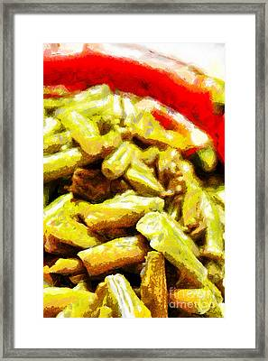 Baked Beans With Chilli Painting Framed Print by Magomed Magomedagaev