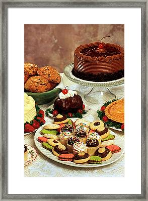 Baked Desserts And Cakes Framed Print