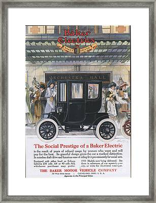 Baker Electric Cars 1910s Usa Framed Print by The Advertising Archives