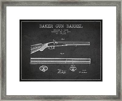 Baker Gun Barrel Patent Drawing From 1877- Dark Framed Print by Aged Pixel