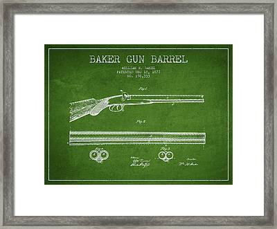 Baker Gun Barrel Patent Drawing From 1877- Green Framed Print by Aged Pixel