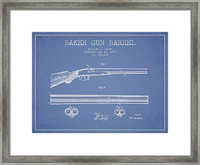 Baker Gun Barrel Patent Drawing From 1877- Light Blue Framed Print by Aged Pixel