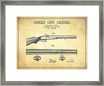 Baker Gun Barrel Patent Drawing From 1877- Vintage Framed Print by Aged Pixel