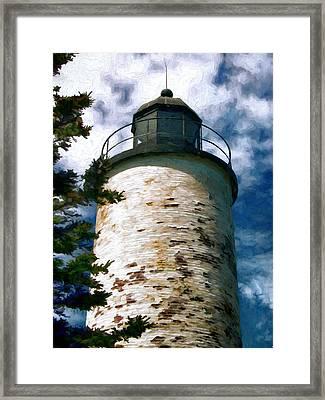 Baker Island Lighthouse Acadia National Park Maine Framed Print by Elaine Plesser
