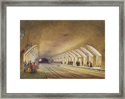 Baker Street Station, 1863 Wc & Bodycolour With Pen & Ink On Paper Framed Print