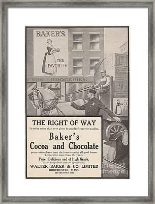 Bakers Chocolate Ad Framed Print by Paula Talbert
