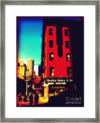 The Bakery - New York City Street Scene Framed Print by Miriam Danar