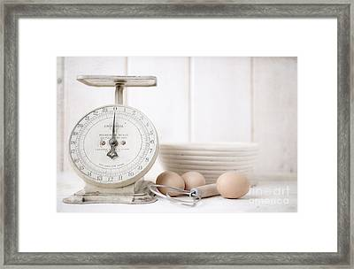 Baking Time Vintage Kitchen Scale Framed Print by Edward Fielding