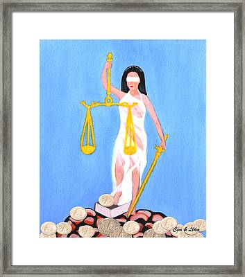 Balance And Money Framed Print by Lorna Maza