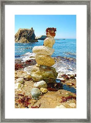 Balanced Beach Rock Stack Framed Print by Debra Thompson
