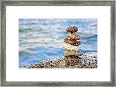 Balanced Pebbles Framed Print